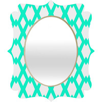 Lisa Argyropoulos Daffy Lattice Aqua Quatrefoil Mirror