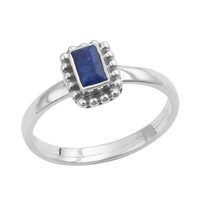 Faceted Emerald Cut Stone Ring
