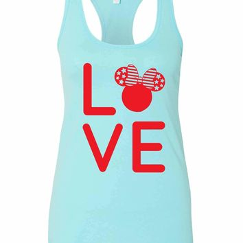 Womens Love Minnie Disney Grapahic Design Fitted Tank Top