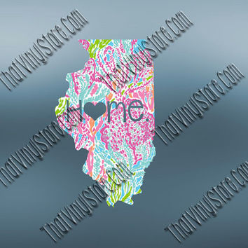 Illinois Heart Home Decal | I Love Illinois Decal | Homestate Decals | Love Sticker | Preppy State Sticker | Preppy State Decal | 053