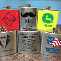 Custom Monogram Men's Flask- Great for Grooms, Weddings, Groomsman, College Students, Fourth of July, For Him gifts