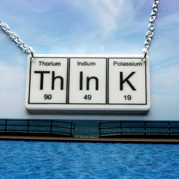 $19.00 White ThInK Necklace periodic table inspired by WendyJNZ