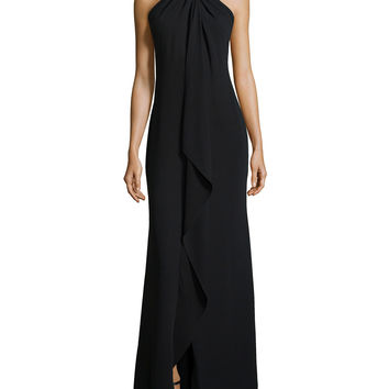Women's Beaded-Neck Toga Gown, Black - Carmen Marc Valvo - Black (4)