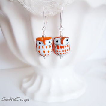 Owl Jewelry Owl Earrings Hand Painted Porcelain by SnobishDesign
