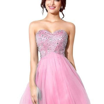 Topwedding Women's Sequins Backless 2018 Homecoming Dresses Short Prom Gowns