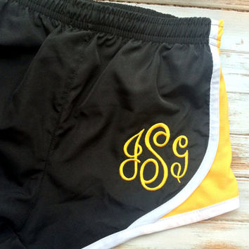 Monogrammed Running Shorts, Monogram Shorts, Black Gold, Southern Girls,  MORTS, Bridesmaid gift, Personalized Cheer Apparel