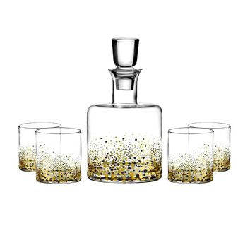 5-Piece Bar Decanter and Glasses Set in Gold Pattern