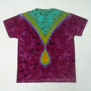Tie Dye Shirt- Large Maroon and Green Tear Drop
