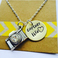 Camera Necklace, Camera Necklace - Photographer Gift- Capture Life -Hand stamped Jewelry - Photography