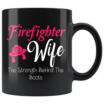 Firefighter Wife Black Mug