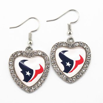 6pairs/lot Crystal Heart Houston Texans Football Sports Team Earrings Fashion Earrings Charms For Women Jewelry