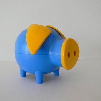 SALE Mod Blue Piggy Bank from Denmark by MonkiVintage on Etsy