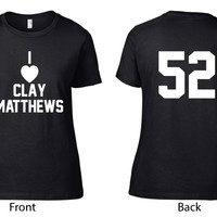 Green Bay Packers Clothing (Unofficial) - I Heart Clay Matthews Crew Neck - Ladies