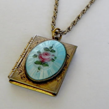Vintage Rose Guilloche Gold Filled Book Locket Pendant Necklace Bridal Wedding Something Blue