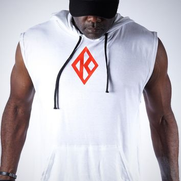 In The Cut Diamond-K muscle hoodie, white