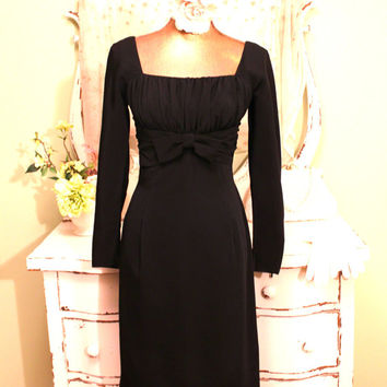 Petite, 1960s Little Black Dress, Black Tie Retro, Empire Waist, Long Sleeve Midi, Party Dresses, Mod Crepe Bow, Womens Size XS Petite Small