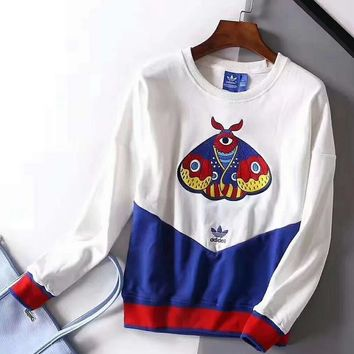 Adidas Clover Embroidery Art Leisure Series Beige Sweater