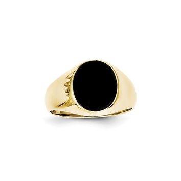 10k Yellow Gold Onyx Mens Ring
