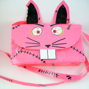 Zombie Bunny Duct Tape Purse  Pink by PyrateWench on Etsy