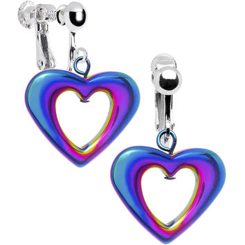 Handcrafted Rainbow Hemalyke Heart Clip On Earrings MADE WITH SWAROVSKI ELEMENTS