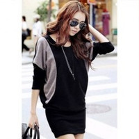 Casual Style Color Splicing Scoop Neck Batwing Sleeve Knit Dress For Women = 1945694596