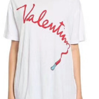 Vetements letter printed lipstick T-shirt loose round collar