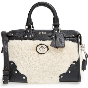 COACH 'Rhyder 24' Genuine Shearling & Leather Satchel | Nordstrom