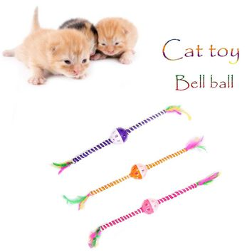 Pet Cat Toy Feather Sisal Long Stick With Bell Ball Pet Supplies Interactive Toy Cat Catcher toy teaser stick