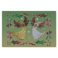 "Shades of Green Holiday Angels 10"" X 15"" Tissue Paper"
