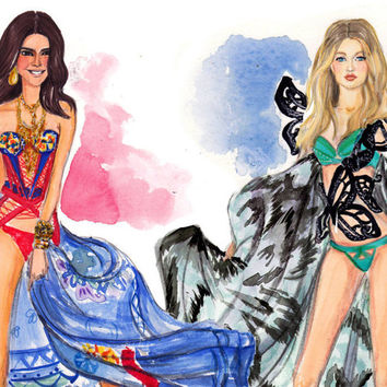 Victoria's Secret Runway Fashion Show watercolor print featuring best friend supermodels Kendall Jenner & Gigi Hadid