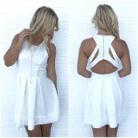 Triad Skater Dress In White