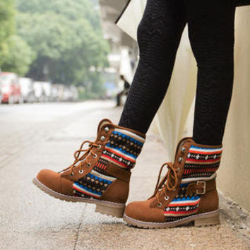 YESSTYLE: Ni-kiyo- Belted Knit Panel Lace-Up Boots - Free International Shipping on orders over $150