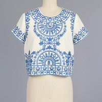 White Top Light Blue Embroidery