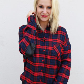 Leather Elbow Patch Plaid Top