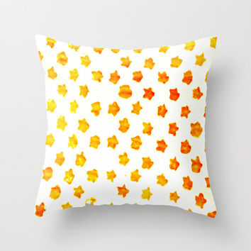 Star Print Pillow Cover - throw pillow home decor abstract stencil pattern painting yellow orange white hipster style 16x16 inches