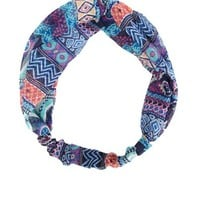 AZTEC PRINT CHIFFON TWISTED HEAD WRAP