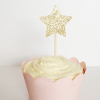12 Gold Glitter Star Cupcake Toppers - Birthdays, Parties, Weddings, Decoration