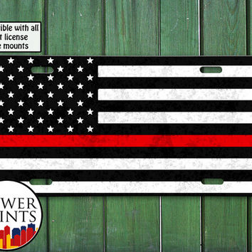 Thin Red Line American Flag Fireman Support Firemen Fire Accessory For Front License Plate Car Tag One Size Fits All Vehicle Custom