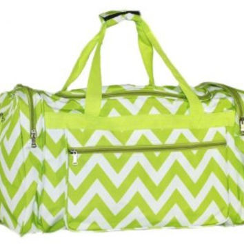 Machine embroidered 22in Duffle Bag- Lime green Chevron pattern. Includes FREE Personal Embroidery