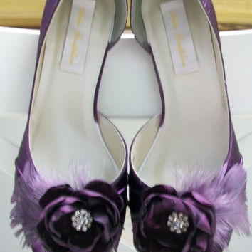 Handmade Wedding Shoes -  Purple Wedding Shoes - Choose From Over 100 Shoe Colors - Handmade Flower With Crystal - Peep Toe - Garden Wedding