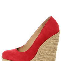 My Delicious Glow Lipstick Red Suede Espadrille Wedges
