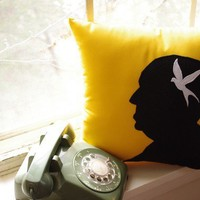 Alfred Hitchcock Silhouette Pillow on Goldenrod by regansbrain