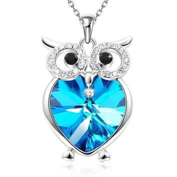 "Mom Gifts""Owl of Minerva""Blue Heart Pendant Necklace with Swarovski Crystals Women Birthday Valentines Anniversary Jewelry for Wife Grandma"