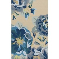 Blue Roses Floral Outdoor Rug