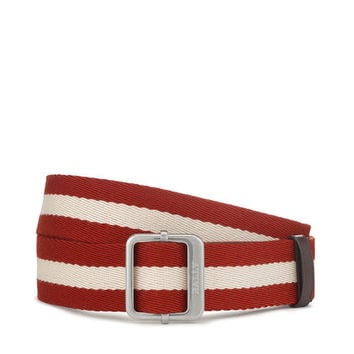 Men's red striped canvas belt | TINAIT | Bally Belts