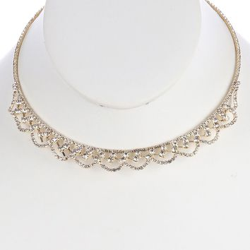Clear Rhinestone Coil Wire Choker Necklace