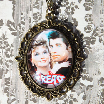 Grease Necklace, Sandy Danny Charm,Rockabilly Jewelry, Movie Charm, Pink Lady Pendant, Antique Bronze Charm, Greaser Necklace, Movie Jewelry