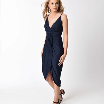 Retro Style Navy Blue Ruched Spaghetti Strap Wiggle Dress