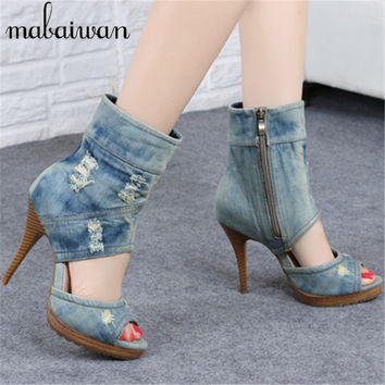 Vintage Denim Peep Toe Women Platform Pumps High Heels Summer Boots Retro Ladies High Top Casual Shoes Woman New Arrival Sandals