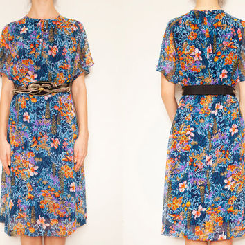 Beautiful 1970's Japanese blue floral vintage dress,Chiffon dress,Floral dress, Blue dress,Midi dress, Bridesmaid style dress, Vintage dress